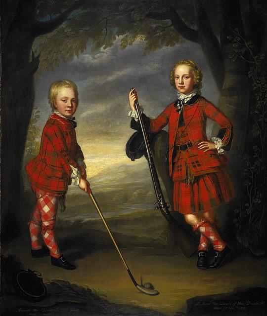Александр и Джеймс Макдональды, 1749-й год. Братья не только в разного стиля одежде, но и с разными тартанами
